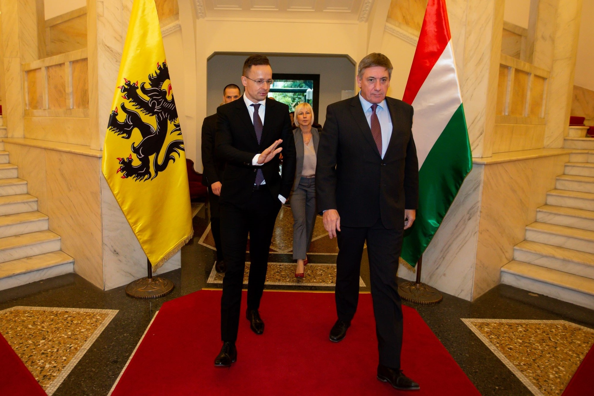 Hungarian minister of foreign affairs Peter Szijjarto and minister-president Jambon in Boedapest